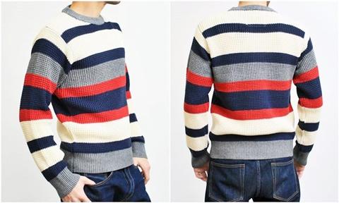 2015-01-26 98-GU511002S bwhite 畦編みニットボーダークルーネックセーター 3