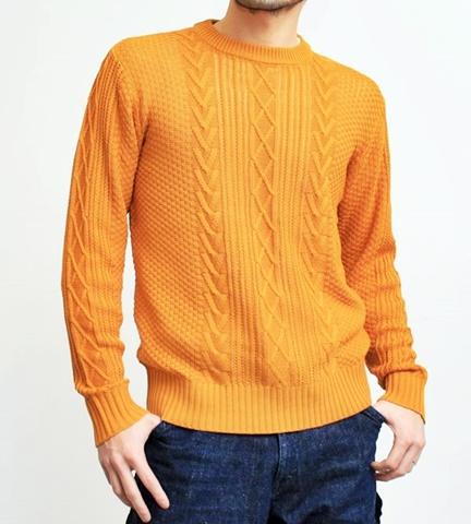 2015-01-26 98-GU511005S mustard コットンアクリルニットフィッシャーマンクルーネックセーター 1