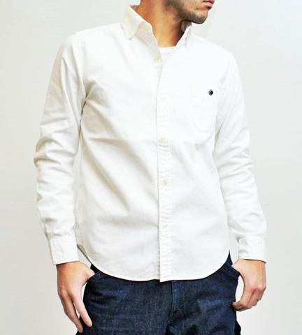 2015-02-25 27-br4965-10ホワイト バーンズアウトフィッターズ[BARNS OUTFITTERS] 立体縫製オックスフォード長袖ボタンダウンシャツ