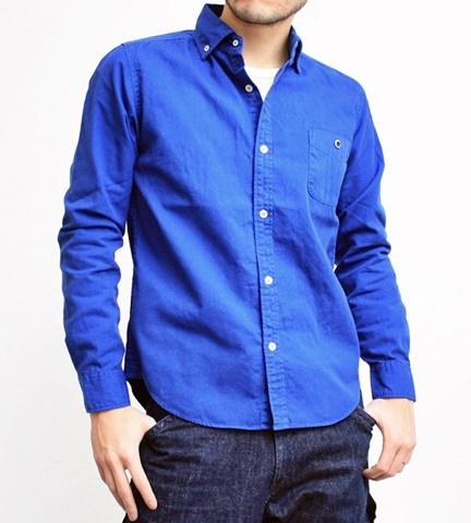 2015-02-25 27-br4965-24ロイヤルブルー バーンズアウトフィッターズ[BARNS OUTFITTERS] 立体縫製オックスフォード長袖ボタンダウンシャツ 1