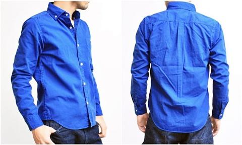 2015-02-25 27-br4965-24ロイヤルブルー バーンズアウトフィッターズ[BARNS OUTFITTERS] 立体縫製オックスフォード長袖ボタンダウンシャツ 3