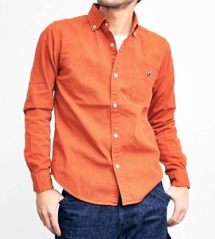2015-02-25 27-br4965-54オレンジ バーンズアウトフィッターズ[BARNS OUTFITTERS] 立体縫製オックスフォード長袖ボタンダウンシャツ