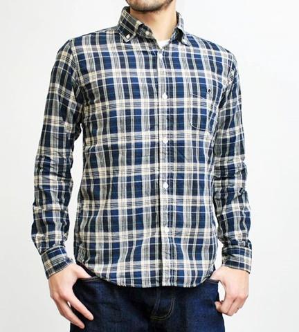 2015-02-25 27-BR6254-19ブラック バーンズアウトフィッターズ[BARNS OUTFITTERS] 立体縫製マドラスチェック長袖ボタンダウンシャツ