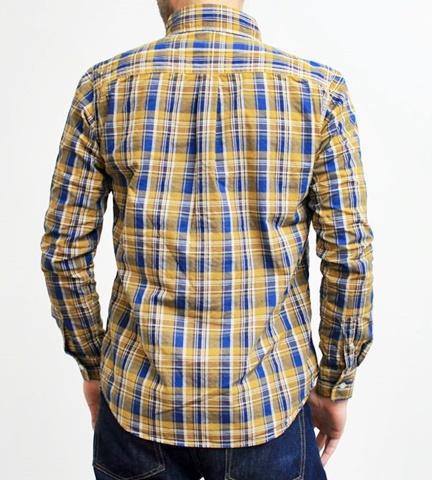 2015-02-25 27-BR6254-55イエロー バーンズアウトフィッターズ[BARNS OUTFITTERS] 立体縫製マドラスチェック長袖ボタンダウンシャツ 2