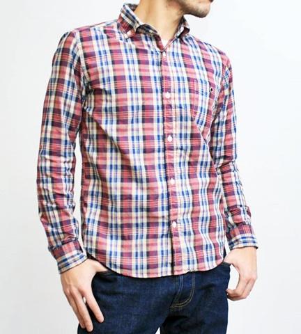 2015-02-25 27-BR6254-65レッド バーンズアウトフィッターズ[BARNS OUTFITTERS] 立体縫製マドラスチェック長袖ボタンダウンシャツ