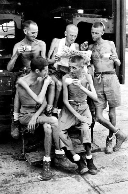British soldiers liberated from a Japanese POW camp in Sumatra