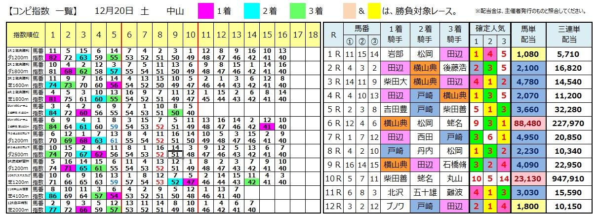 1220中山(日刊コンピ 馬券生活 的中 万馬券 三連単 札幌競馬)