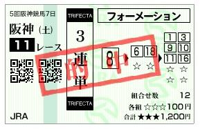 【的中馬券】1227阪神11(日刊コンピ 馬券生活 的中 万馬券 三連単 札幌競馬)