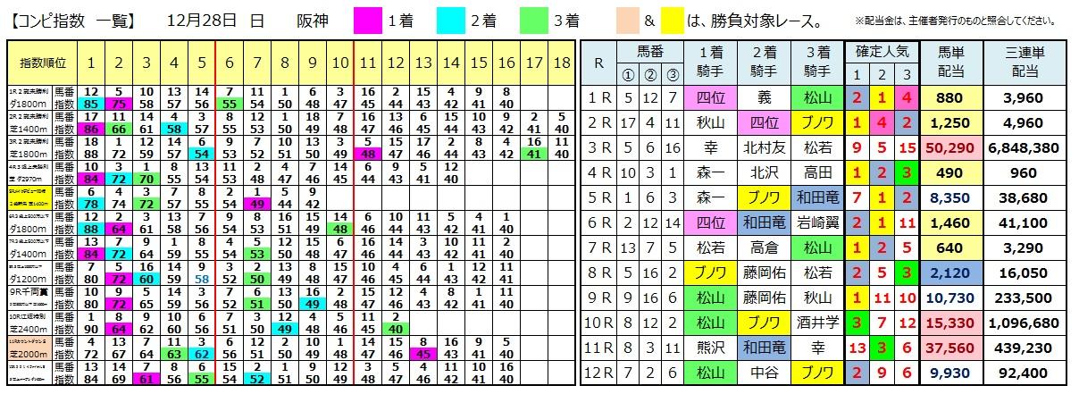 1228阪神(日刊コンピ 馬券生活 的中 万馬券 三連単 札幌競馬)