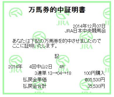 【万馬券獲得記録】1207中山4