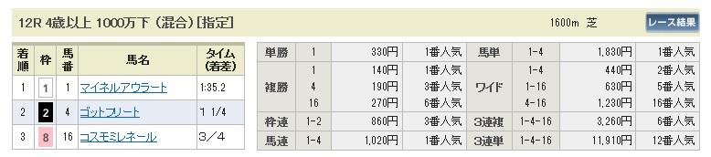 0104中山12(日刊コンピ 馬券生活 的中 万馬券 三連単 札幌競馬)