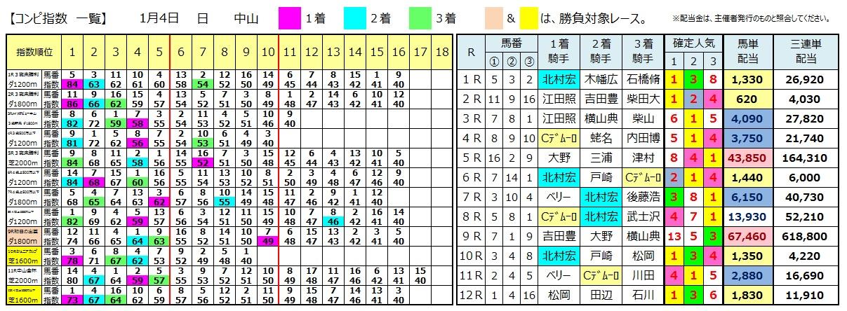 0104中山(日刊コンピ 馬券生活 的中 万馬券 三連単 札幌競馬)