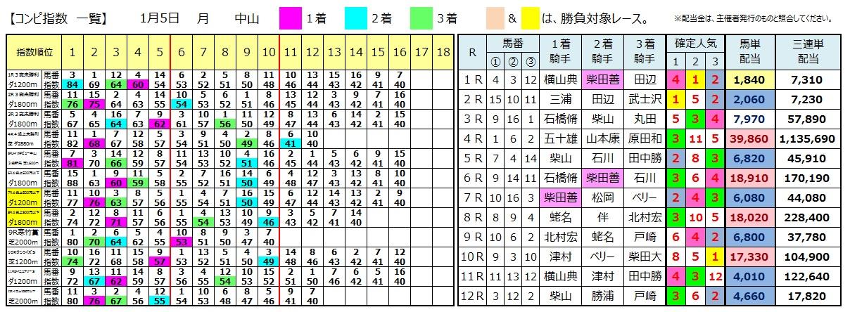 0105中山(日刊コンピ 馬券生活 的中 万馬券 三連単 札幌競馬)