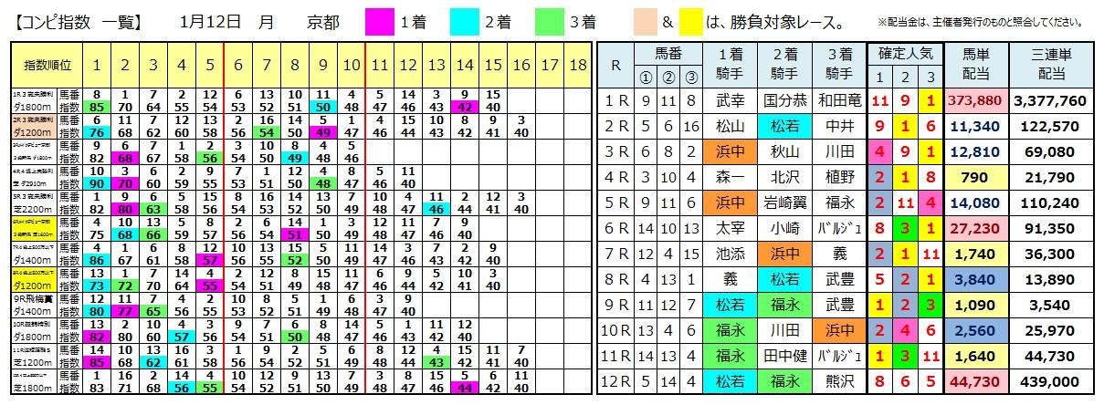 0112京都(日刊コンピ 馬券生活 的中 万馬券 三連単 札幌競馬)