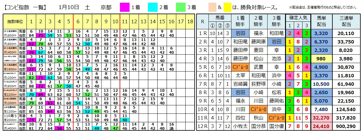0110京都(日刊コンピ 馬券生活 的中 万馬券 三連単 札幌競馬)