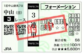 【的中馬券】0118中山3(日刊コンピ 馬券生活 的中 万馬券 三連単 札幌競馬)
