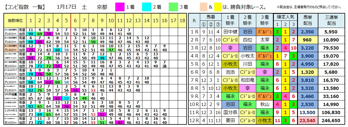 0117京都(日刊コンピ 馬券生活 的中 万馬券 三連単 札幌競馬)