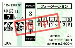 【的中馬券】0124中京7(日刊コンピ 馬券生活 的中 万馬券 三連単 札幌競馬)