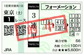 【的中馬券】0201東京1(日刊コンピ 馬券生活 的中 万馬券 三連単 札幌競馬)