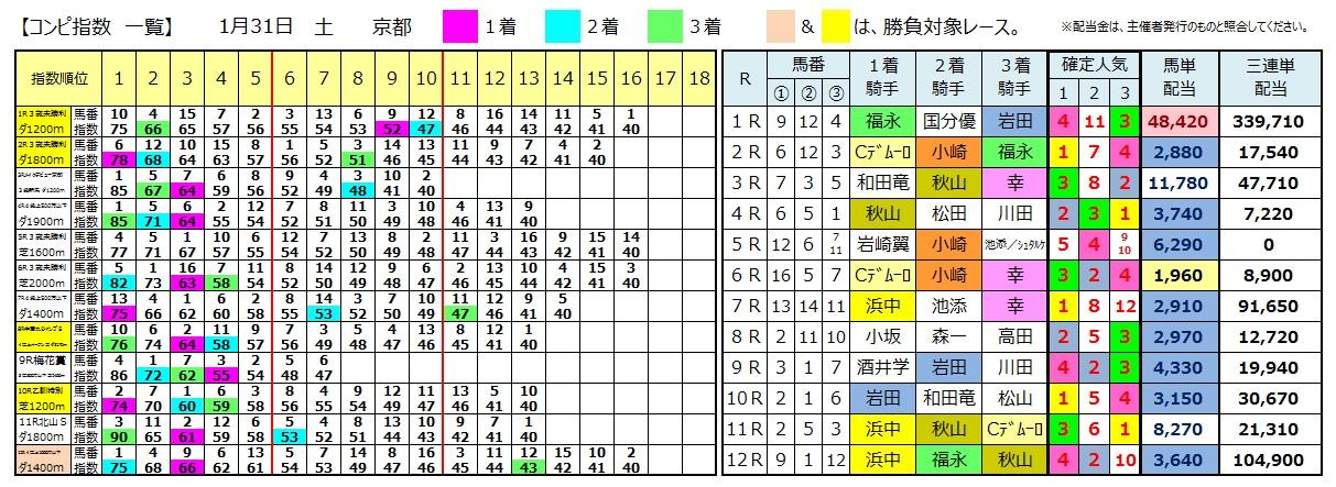 0131京都(日刊コンピ 馬券生活 的中 万馬券 三連単 札幌競馬)