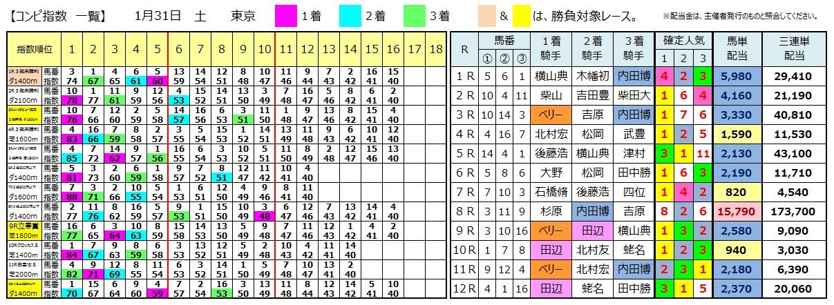 0131東京(日刊コンピ 馬券生活 的中 万馬券 三連単 札幌競馬)