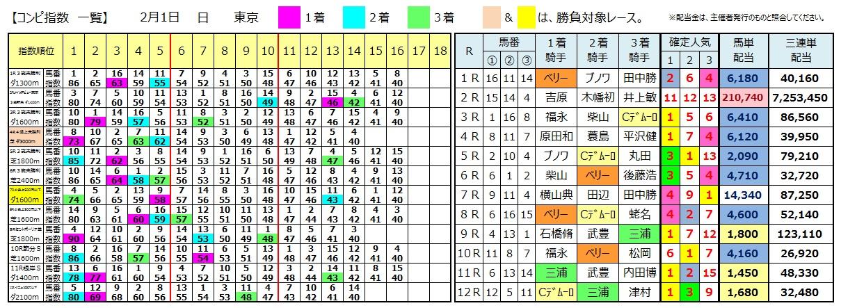 0201東京(日刊コンピ 馬券生活 的中 万馬券 三連単 札幌競馬)