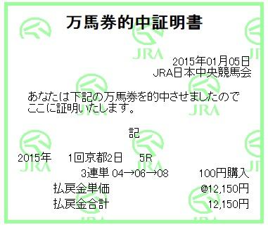 【万馬券獲得記録】0105京都5