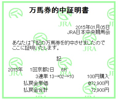 【万馬券獲得記録】0105京都6