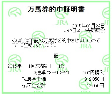 【万馬券獲得記録】0124京都1