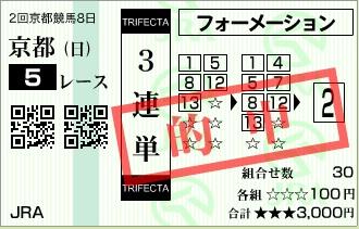 【的中馬券】0222京都5(日刊コンピ 馬券生活 的中 万馬券 三連単 札幌競馬)
