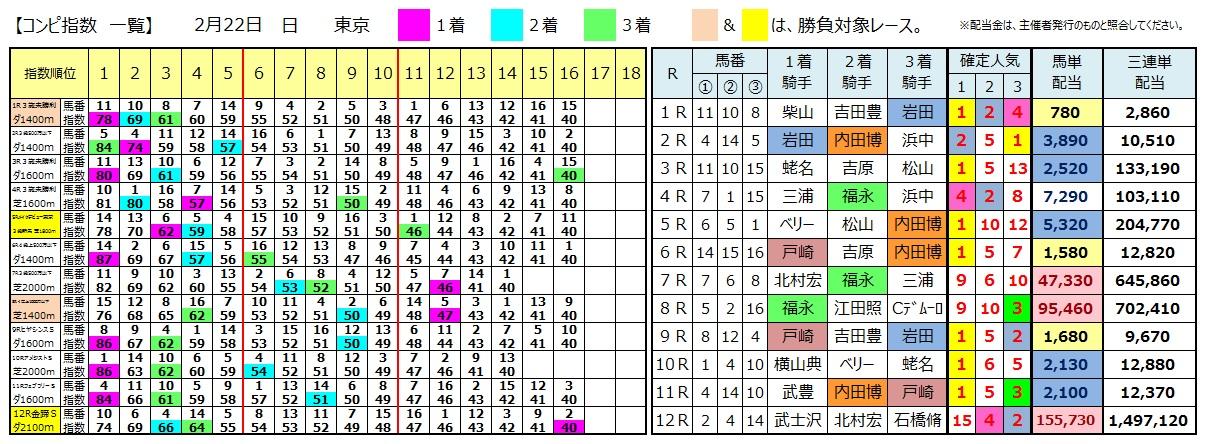 0222東京(日刊コンピ 馬券生活 的中 万馬券 三連単 札幌競馬)