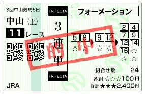 【的中馬券】0411中山11(日刊コンピ 馬券生活 的中 万馬券 三連単 札幌競馬)