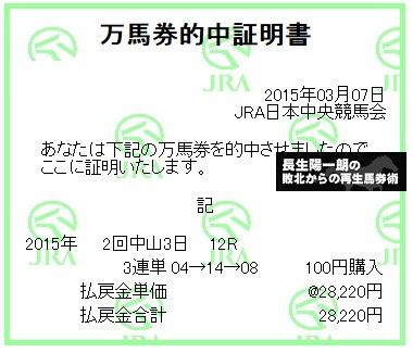 【万馬券獲得記録】0307中山12R