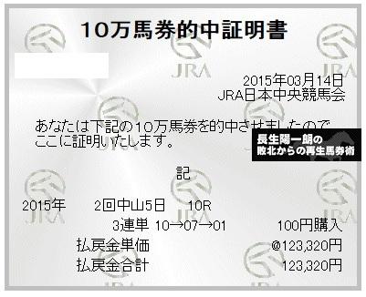 【万馬券獲得記録】0314中山10R