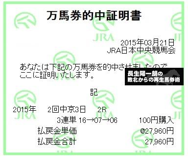 【万馬券獲得記録】0321中京2R
