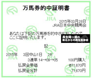 【万馬券獲得記録】0328中山2R