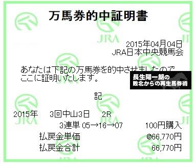 【万馬券獲得記録】0404中山2R