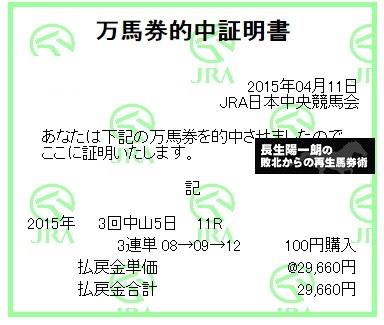 【万馬券獲得記録】0411中山11R