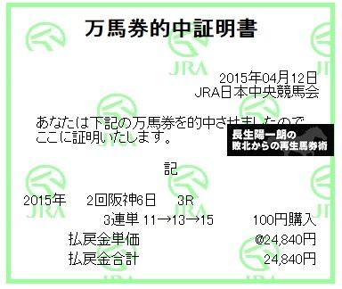 【万馬券獲得記録】0412阪神3R