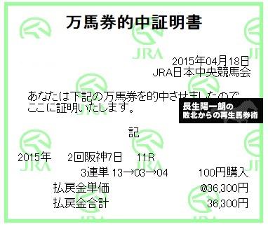 【万馬券獲得記録】0418阪神11R