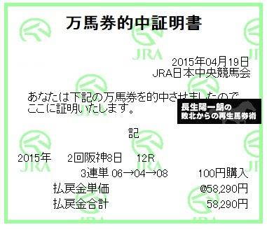 【万馬券獲得記録】0419阪神12R