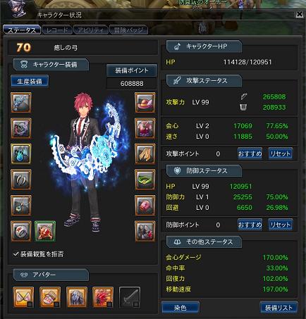 レベル70幻神ありステータス