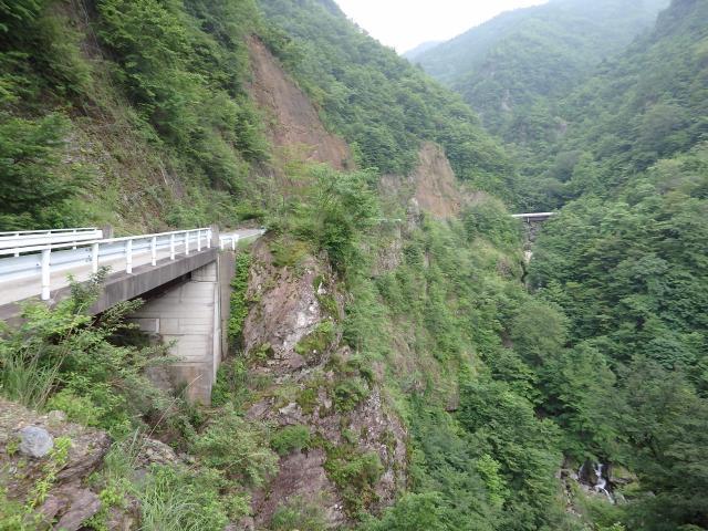 急斜面を開鑿した林道