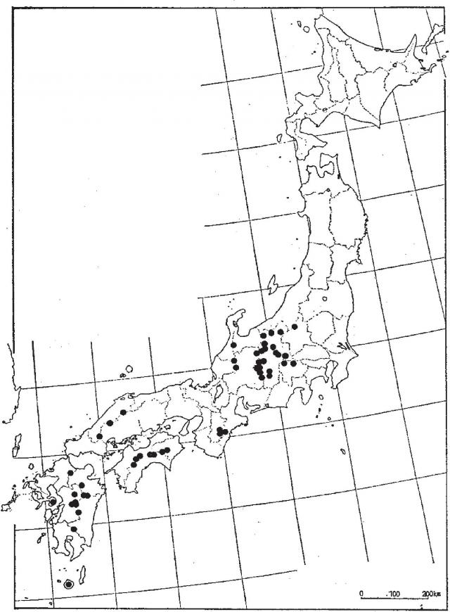 オオヤマレンゲの分布図