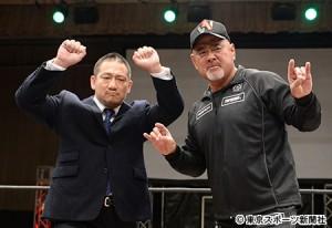 20150508高木三四郎(左)・武藤敬司(右)
