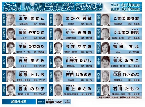 【統一地方選挙<後半戦>大詰め!】連合 ver