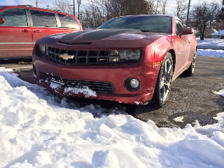 Camaro in the snow