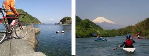 静岡県東部の狩野川と富士山の写真画像
