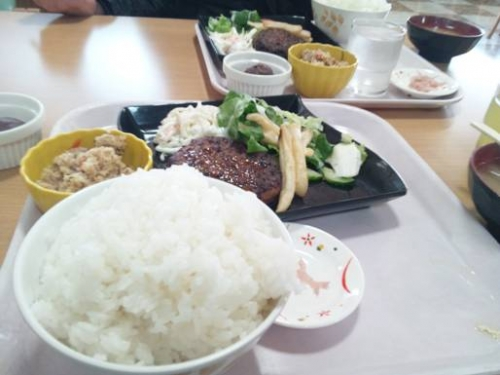 【Aランチ¥500】ごはん特盛り(無料)を病院食堂で嫁と食べた(嫁も特盛り)。ハンバーグランチで美味かった。