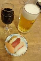 19:44 夫はお寿司とビール、私はワイン